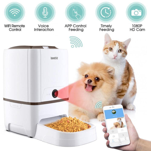 6L Pet Feeder Wifi Remote Control Smart Automatic Pet Feeder Dogs Cat Food Rechargable With Video Monitor High Quality