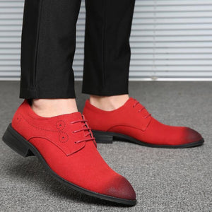 Casual Men Faux Suede Leather Shoes Pointed Toe Lace Up Fashion Men Shoes