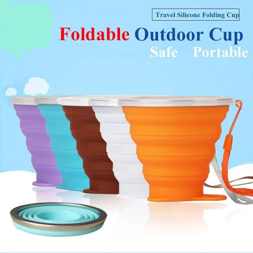 Portable Cup Food Grade Folding Cup with Lid Outdoor Telescopic Travel Drinking Camping Water Cup