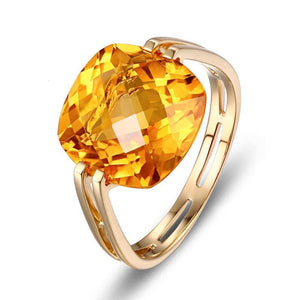 10KT/417 Yellow Gold 6.41ct Natural Citrine Engagement Ring Jewelry - moonaro