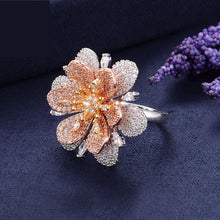 Load image into Gallery viewer, Luxury Flowers Cubic Zironia Engagement Bridal Statement Finger Rings For Women Wedding Trendy Jewelry