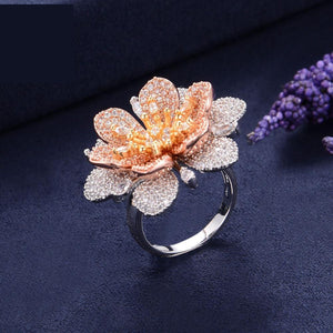 Luxury Flowers Cubic Zironia Engagement Bridal Statement Finger Rings For Women Wedding Trendy Jewelry