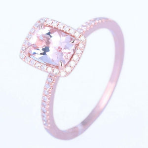 UNBELIEVABLE! 1.37CT Cushion Cut Morganite Solid 10K Rose Gold Engagement Wedding Diamonds Ring For Women's Jewelry Ring