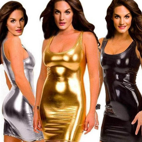 Women Sexy wetlook pu faux leather lingerie dress