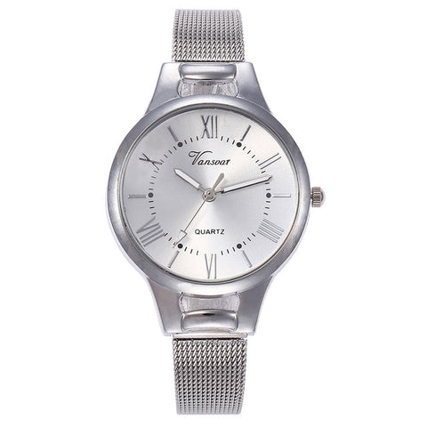 vansvar Casual Quartz Stainless Steel Band
