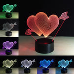 Two Hearts 3D illusion  lamp