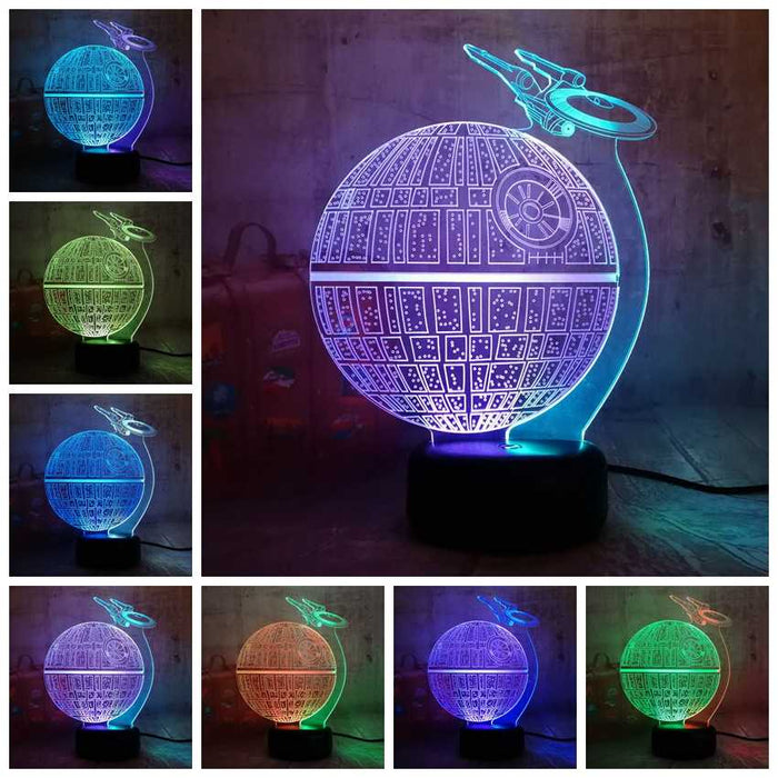 NEW Style Star Wars Death Star Lustre 3D LED RGB 7 Mixed Dual Color Change Night Light Lamp Christmas Gift Home Decor Kids Toy