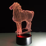 Green Horse Stylish 3D LED illusion Lamp