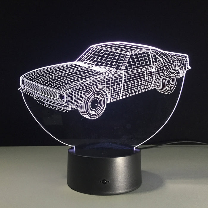 White Car 3D illusion Lamp