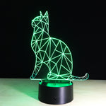 Green Emission Cat 3D LED illusion Lamp