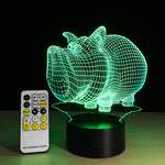 Cartoon Pig 3D LED illusion Lamp