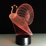 Green Light Snale 3D LED illusion Lamp