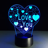 I Love You 3D illusion Lamp