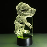 Yellow Dino Bed Room 3D illusion Lamp