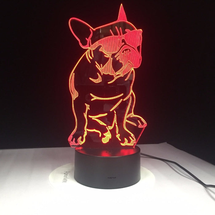 Wearing Sunglasses Dog 3D LED illusion Lamp
