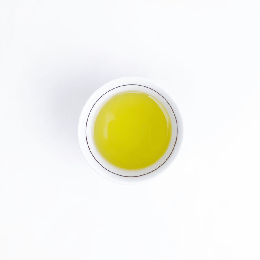 Top down white cup with Gyokuro tea