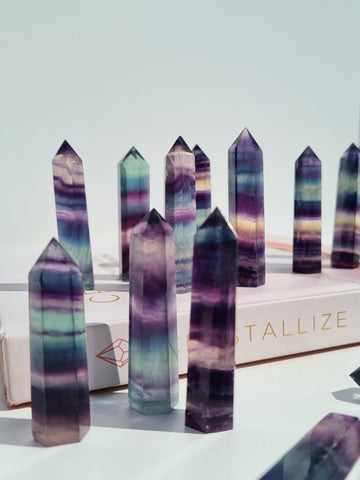 rainbow fluorite mini points