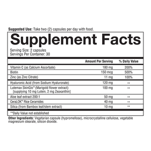 Hyaluronic Plus Vegetarian Capsules Supplement Facts