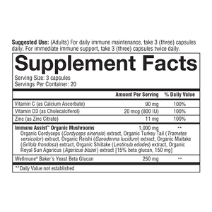 Immune Daily Wellness 60 Capsules Supplement Facts