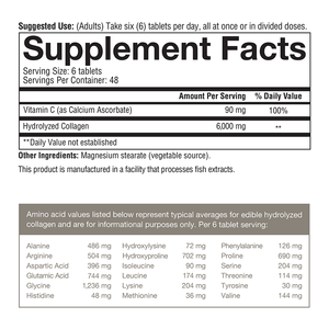 Collagen 160 Tablets Supplement Facts