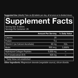 Mens Collagen 160 Tablets Supplement Facts