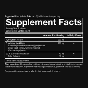 Mens Joint Complex 60 Tablets Supplement Facts