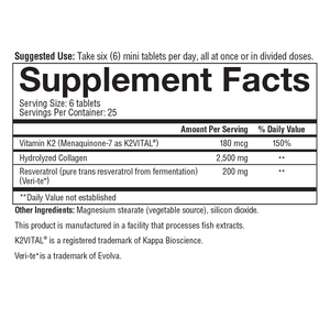 Heart Collagen 150 Tablets Supplement Facts