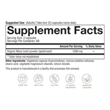 Load image into Gallery viewer, Womens Maca Root 120 Capsules Supplement Facts