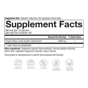 Womens Maca Root 120 Capsules Supplement Facts