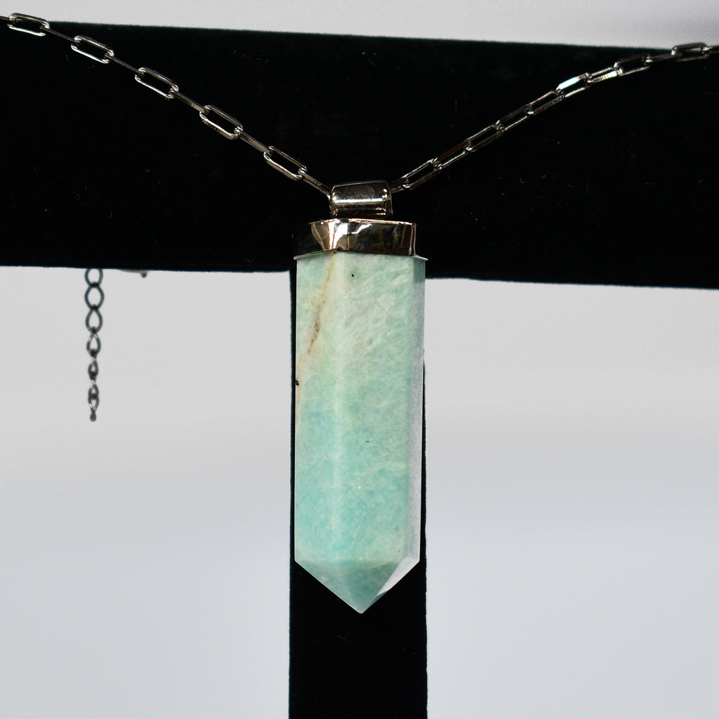 Unisex Amazonite Point Pendant
