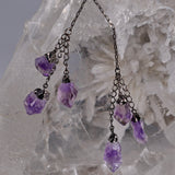 Natural 6-Point Amethyst Double Tassel Necklace
