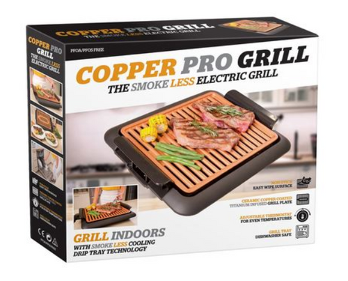 2 IN 1 COPPER PRO SMOKELESS GRILL + GRIDDLE