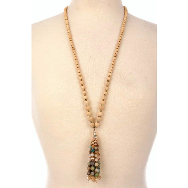 Bead Fringe Pendant Necklace - Bestowed Shop