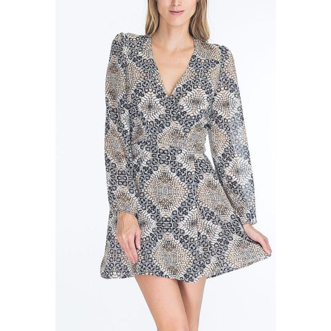 Snake Mosaic Wrap Dress - Bestowed Shop