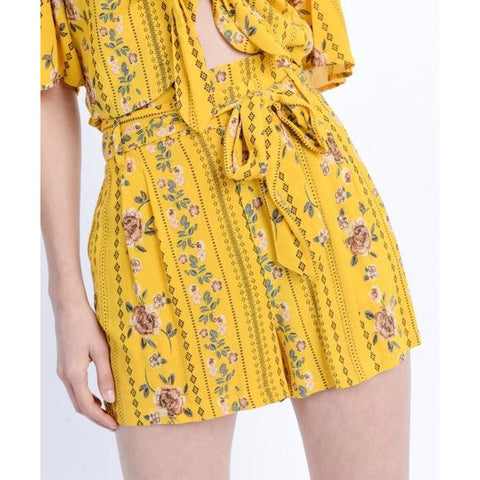 High Waist Floral Print Belted Paperbag Shorts - Bestowed Shop