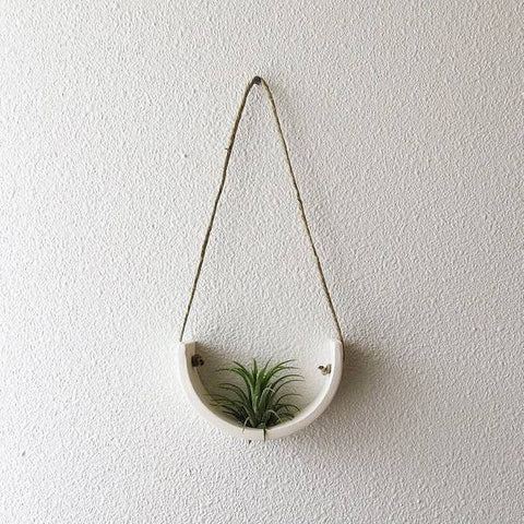 Small White Earthenware Hanging Air Plant Cradle - Bestowed Shop