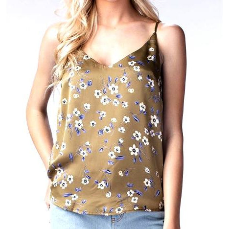 Floral Satin Tank - Bestowed Shop
