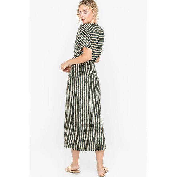 Buttoned Striped Knit Midi Dress - Bestowed Shop