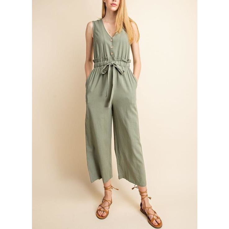 Drawstring Waist Jumpsuit - Bestowed Shop