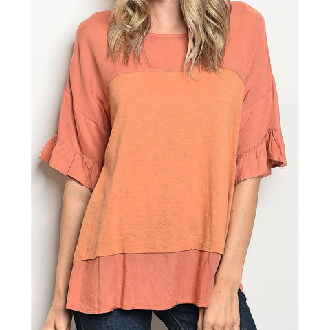 Ruffle Sleeve Two Tone Top - Bestowed Shop
