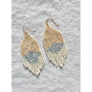 Flat Triangle Design Mini Bead Fringe Earrings