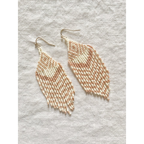 Flat Micro Beaded Fringe Earrings