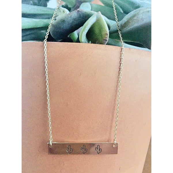 Three Cactus Bar Line Pendant Necklace - Bestowed Shop