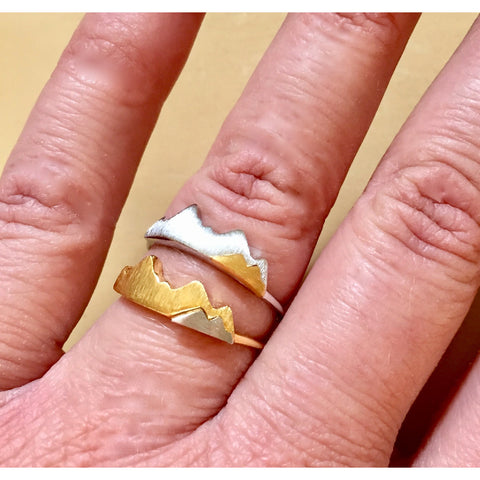 Adjustable Two-Tone Mountain Ring