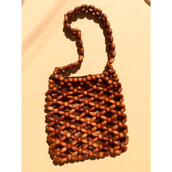 Beaded Wood Handbag