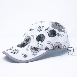 Women's black white painted floral cap baseball hat for running