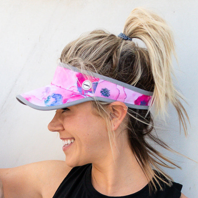 Women's pink painted floral visor hat for running