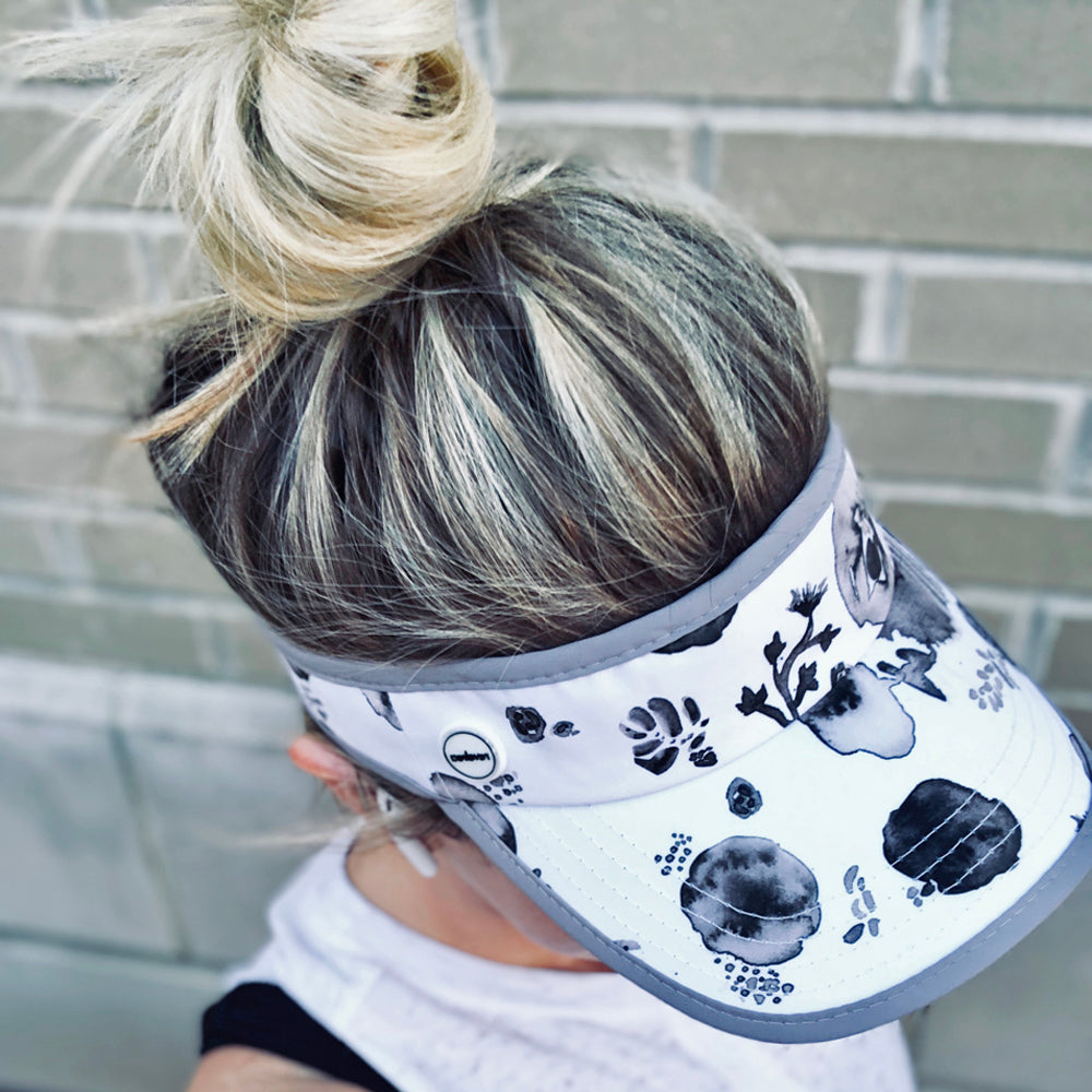 Women's painted black and white floral visor for running