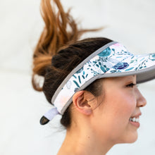 Women's navy floral painted visor hat for running