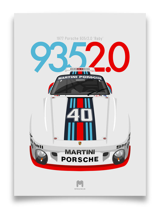 1977 Porsche 935/2.0 Baby - Martini - Limited Edition Giclée poster print
